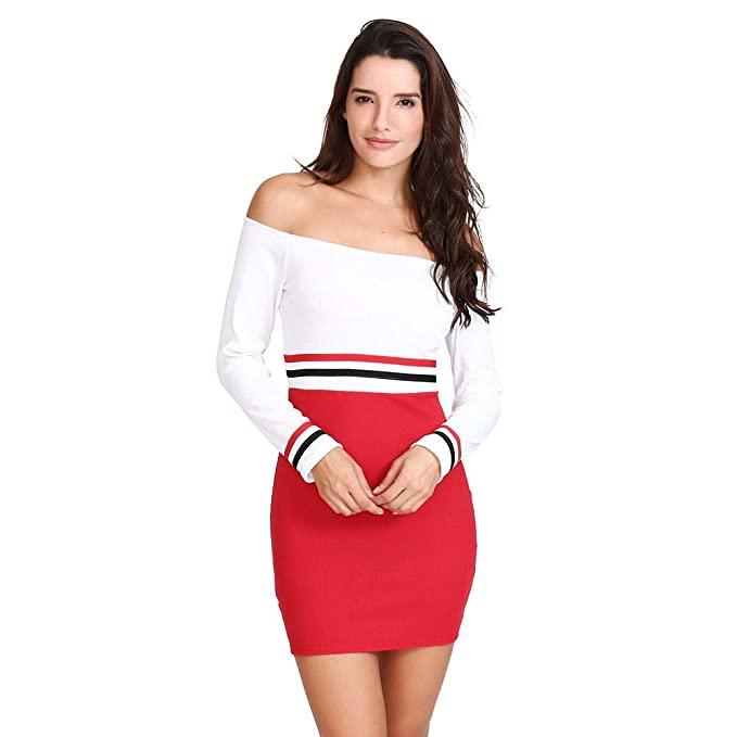 163211a09e9 Image Unavailable. Image not available for. Color: Dress for Women Sexy,Women  Sexy Off Shoulder Color Block Striped Slim Long Sleeve Ladies