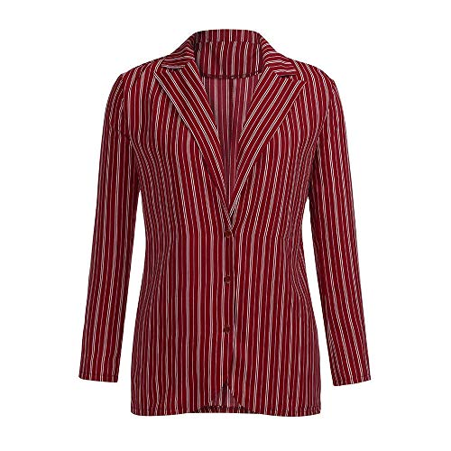 Ladies Long Sleeve Striped Jacket Women Fashion Coat Lapel V-Neck Casual Jackets Tops (M, - Sampler Motif Autumn