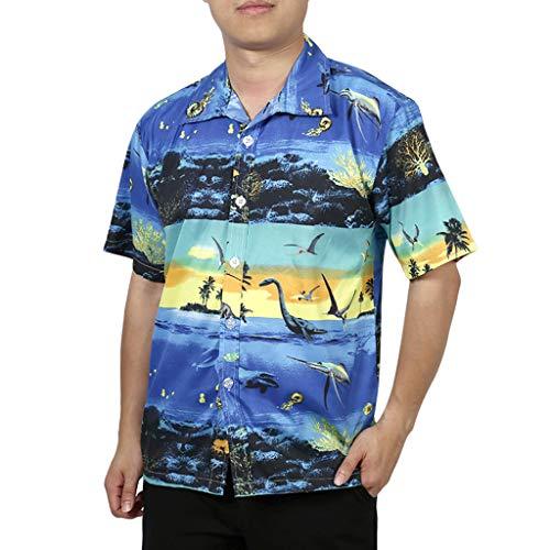 iHPH7 Top Blouse Regular Fit Camp Palm Tree Short Sleeves Button Down Hawaiian Shirts Casual Print Beach Quick Dry Men (M,Navy)]()