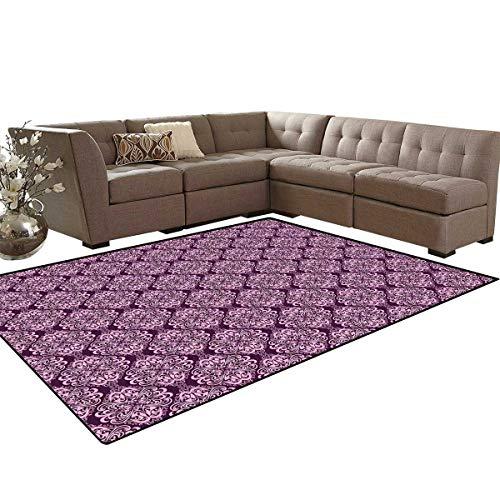Purple Customize Door mats for Home Mat Victorian Romantic Damasked Floral Oriental Swirl Pattern Artwork Image Bath Mats Carpet 6'x7' Plum and Pale Pink