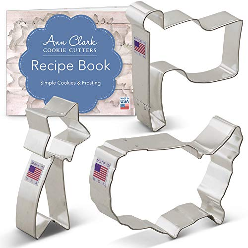 Ann Clark Independence Day Patriotic Cookie Cutter Set with Recipe Booklet - 3 pc. - Flag, Shooting Star, USA Map - USA Made Steel