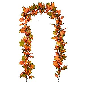Artiflr 2 Pack Fall Maple Leaf Garland – 6.5ft/Piece Artificial Foliage Garland Autumn Hanging Fall Leave Vines for…