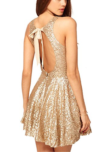 Now and Forever Sequins Open Back Cocktail Dress (4,golden)