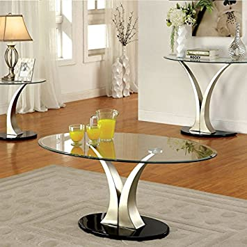 Valo Chrome Finish Oval Glass Top Coffee Table