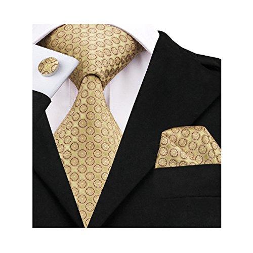 Barry.Wang Elegant Yellow Silk Necktie Set Wedding