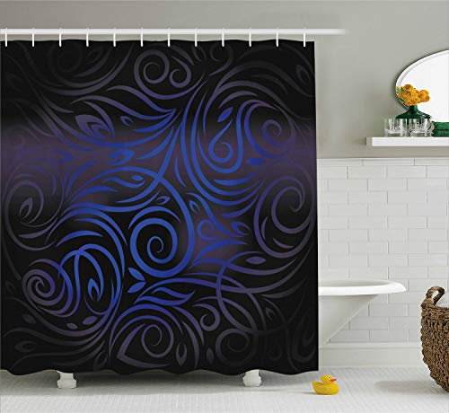 (Ambesonne Dark Blue Shower Curtain, Antique Victorian Swirled Natural Floral Art Pattern Vignette Effect, Fabric Bathroom Decor Set with Hooks, 84 inches Extra Long, Dark Blue Royal Blue)