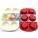 casaWare Ceramic Coated Non-Stick 6 Cup Jumbo Muffin Pan (Cream/Red)