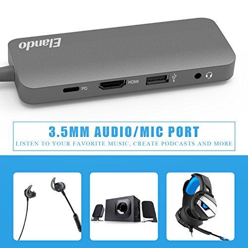 Elando USB-C Hub, Aluminum USB Type-C Hub with 4K HDMI, USB-C Power Delivery, USB 3.0, USB 2.0, Audio Jack and SD/TF Card Reader for MacBook Pro 2017 and Type-C Laptops by Elando (Image #4)