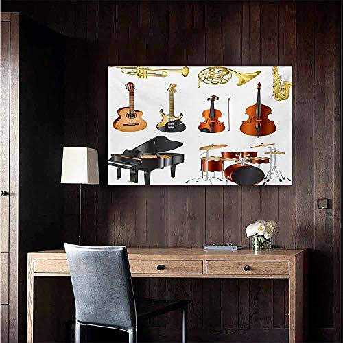 (duommhome Music Simulation Oil Painting Collection of Musical Instruments Symphony Orchestra Concert Composition Theme Print Decorative Painted Sofa Background Wall 28