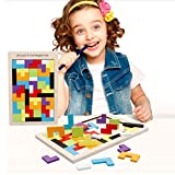 Wooden Tetris Puzzle, 40Pcs Colorful Tangram Brain Block Intelligence Puzzle for Preschool Children Playing