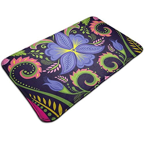 Pomduct Vintage Floral Wallpaper with Viola Illustration Customized Door Mats Rugs Carpet Non-Slip Bottom for Home Office Decoration