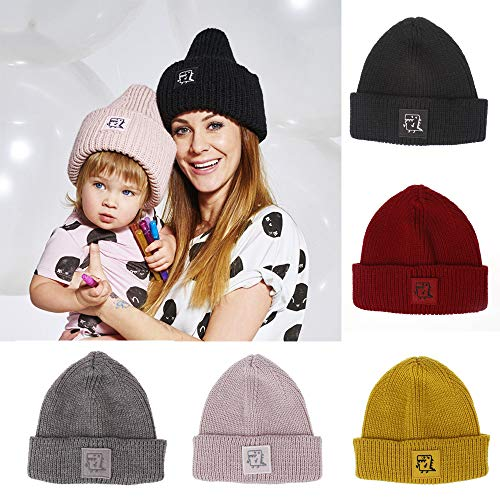 Gallity Toddler Winter Hat Cold Weather Hat Infant Baby Boys Girls Knited Woolen Outdoor Ski Hat (Black)