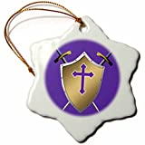 3dRose Golden Shield with crossed swords and the Christian Cross and background in Royal Purple - Snowflake Ornament, Porcelain, 3-inch (orn_40087_1)