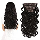 "22"" Clip in Hair Extensions Full Head Curly Wavy Hairpieces for Women 7pcs 140gram (Dark Brown - 2#)"