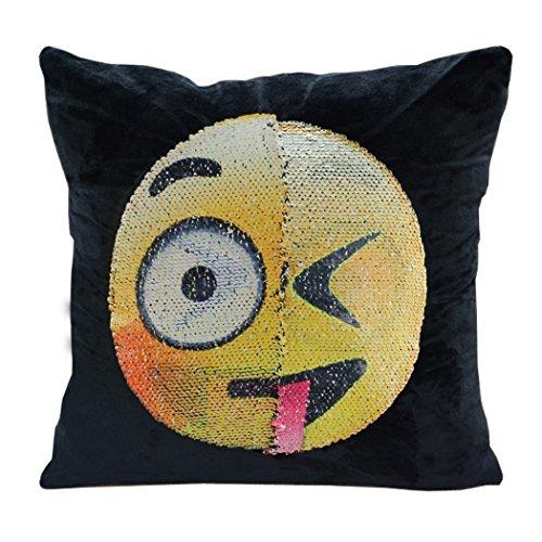 Emoji Pillow Case GUIGU Velvet Changeable Face Reversible Sequin Cushion Cover DIY Decorative Pillowcase for Sofa Home Decor 16 X 16″