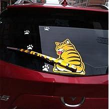Fochutech Car Auto Body Sticker Funny Cat Tail Rear Windshield Window Wiper Self-Adhesive Side Truck Vinyl Graphics Decals (Yellow)