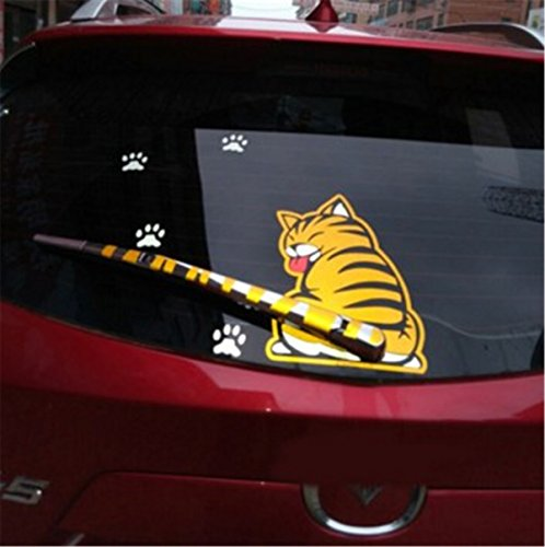 Fochutech Car Auto Body Sticker Funny Cat Tail Rear Windshield Window Wiper Self-Adhesive Side Truck Vinyl Graphics Decals (Yellow) (Decal Tail)