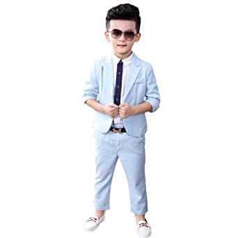 Amazon.com: Boys 3 PCS Formal Suit Kids Blue Pink Blazer ...