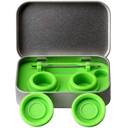 XIFEI portable stainless steel tin box 2-5ml silicone container jars,non-stick storage wax carrying case with extra stainless steel spoons (green)