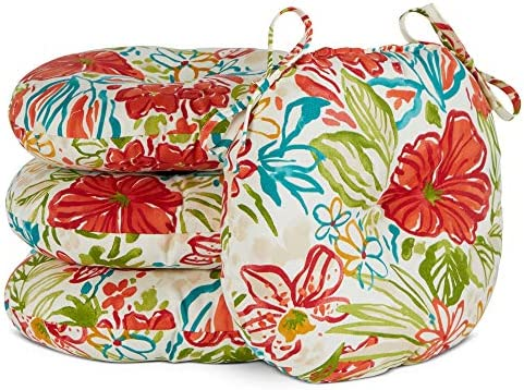 South Pine Porch AM6816S4-Breeze Breeze Floral 15-inch Round Outdoor Bistro Chair Cushion