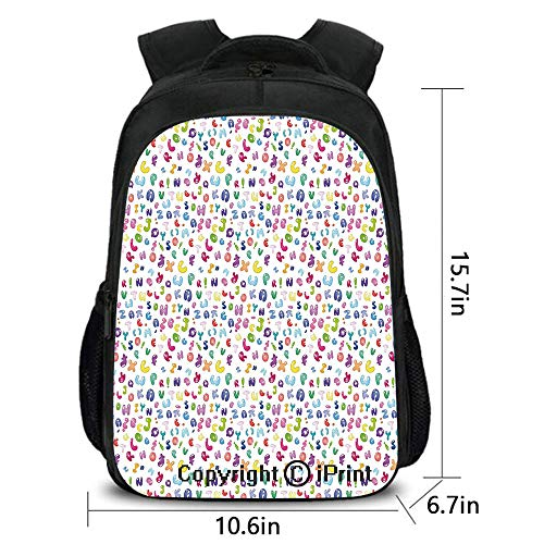 Outdoor Travel Backpack,Cute Colorful Alphabet ABC Bubble Letters Doodle Style Fun Childish Nursery Design,School Bag :Suitable for Men and Women,School,Travel,Daily use,etc.Multi