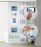 Shower Phone Holder Slim Size 24' x 72' With 4 pockets and 5 resistant Hooks Waterproof Clear Accessory for bathtubs 100% Non toxic EVA material for tablets smartphone and iphone