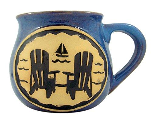 Beach Adirondack Chairs Ceramic Pottery Style Coffee Mug, 14 oz