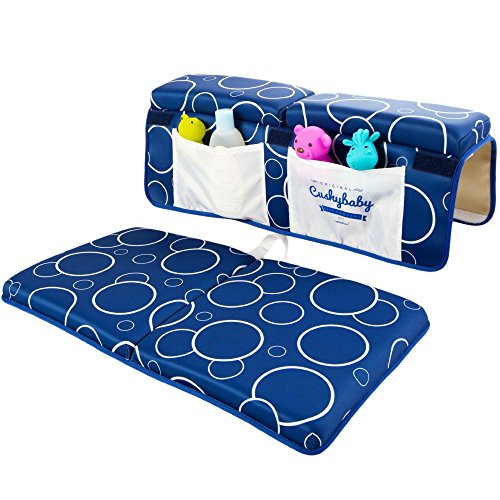 Cushybaby Bath Kneeler and Elbow Rest Pad Set - Thick, Non-Slip, Kneeling Mats Cushion and Protect Arms and Knees So You Can Bathe Your Baby in Comfort! Enjoy Tub Time as Much as Your Kids Do! (Mat Ledge)