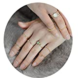 4EAELove Boho Chic Rings Set Bohemian Style Blue Stone Gold Color Knuckle Nail Midi Ring Beach Jewelry of 9 Rings
