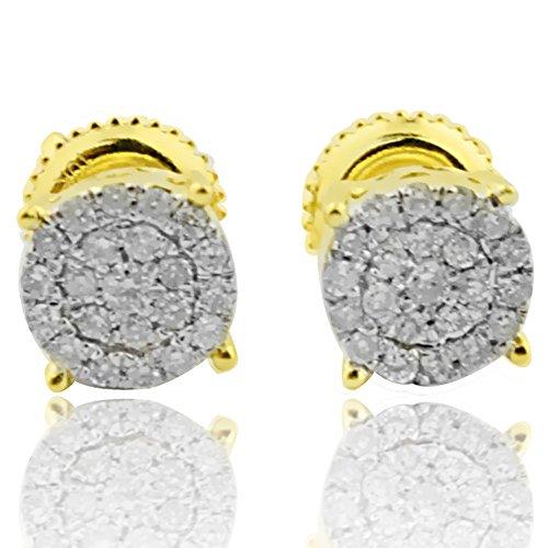 (0.25ctw Diamond Earrings Round 10K Yellow Gold Screw Back 7mm Mens or Womens(i2/i3,)