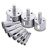 BLENDX Diamond Drill Bits - Glass and Tile Hollow Core Drill Bits Extractor Remover Tools Hole Saws for glass, ceramics, porcelain, ceramic tile, Pack of 10