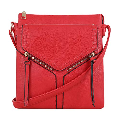 Double Compartment Purse Lightweight Medium Crossbody Bag with Multi Pocket | Red