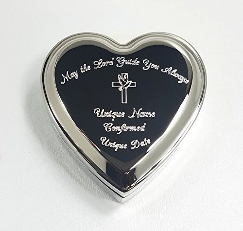 Stanley London Engraved Heart Shaped Jewelry Box (Personalized Baptism/Confirmation Gift) (Personalized Confirmation ()