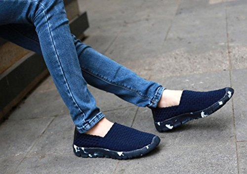 Huateng Lazy New Spring Fashion Unisex 2018 Summer Woven Blue Dark Women's amp; Shoes Hand Men's Shoes 7wq7rxT1I