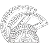 Math Protractors Plastic Protractor 180 Degrees, Clear, (2 Pack-4 in and 2 Pack-6 in)
