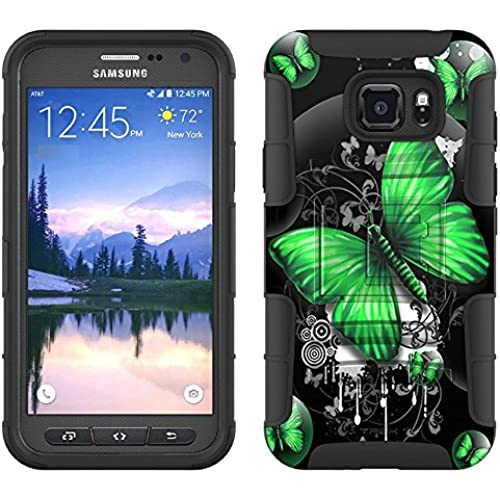 Samsung Galaxy S7 Active Armor Hybrid Case Highlighted Butterfly Green on Black 2 Piece Case with Holster for Samsung Galaxy S7 Active Sales