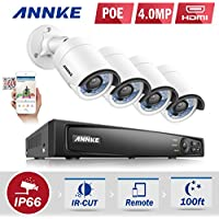 ANNKE 4.0 Megapixels POE Security Camera System 4CH 6.0MP NVR and (4) 2688x1520p 4MP Outdoor Day/Night Vision Security Camera with IP66 Weatherproof, Motion Detection and Email Alert-No HDD