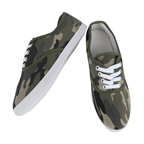 Unisex Turnschuhe Damen Herren Sneakers Stoffschuhe Gr. 36-45 Sneaker Low Schnürer Flandell Camouflage Dunkelgrün