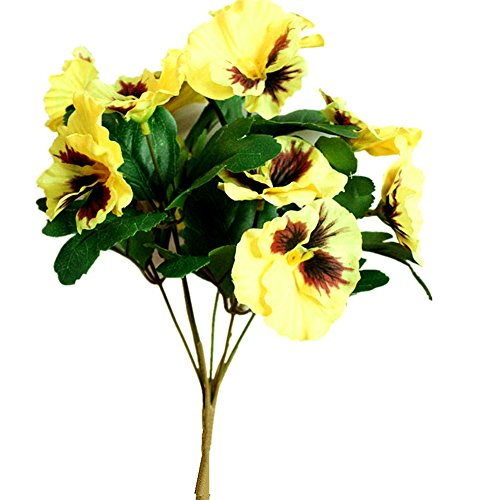 Ximkee Artificial Pansy Flowers for Home Office Decoration-(1pcs Yellow) ()