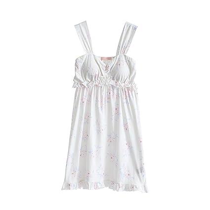Primavera y Verano Sexy White Sweet Girl Girl Nightdress Home Pyjamas HUXIUPING (Color : Blanco