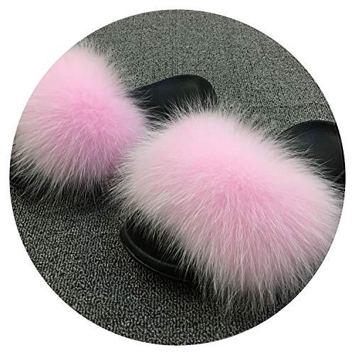 2018 Women's Furry Ladies Cute Plush Fox Hair Fluffy Slippers Women's Fur Slippers,Fox Hair Pink,9.5 ()