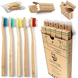BAMBOOGALOO Organic Bamboo Toothbrushes – 5 Pack with Bamboo Cotton Buds & Dental Floss Gift. Premium UK Design, Natural Wooden Toothbrush – Medium Firm Bristles. Eco-Friendly, Plastic-Free Packaging