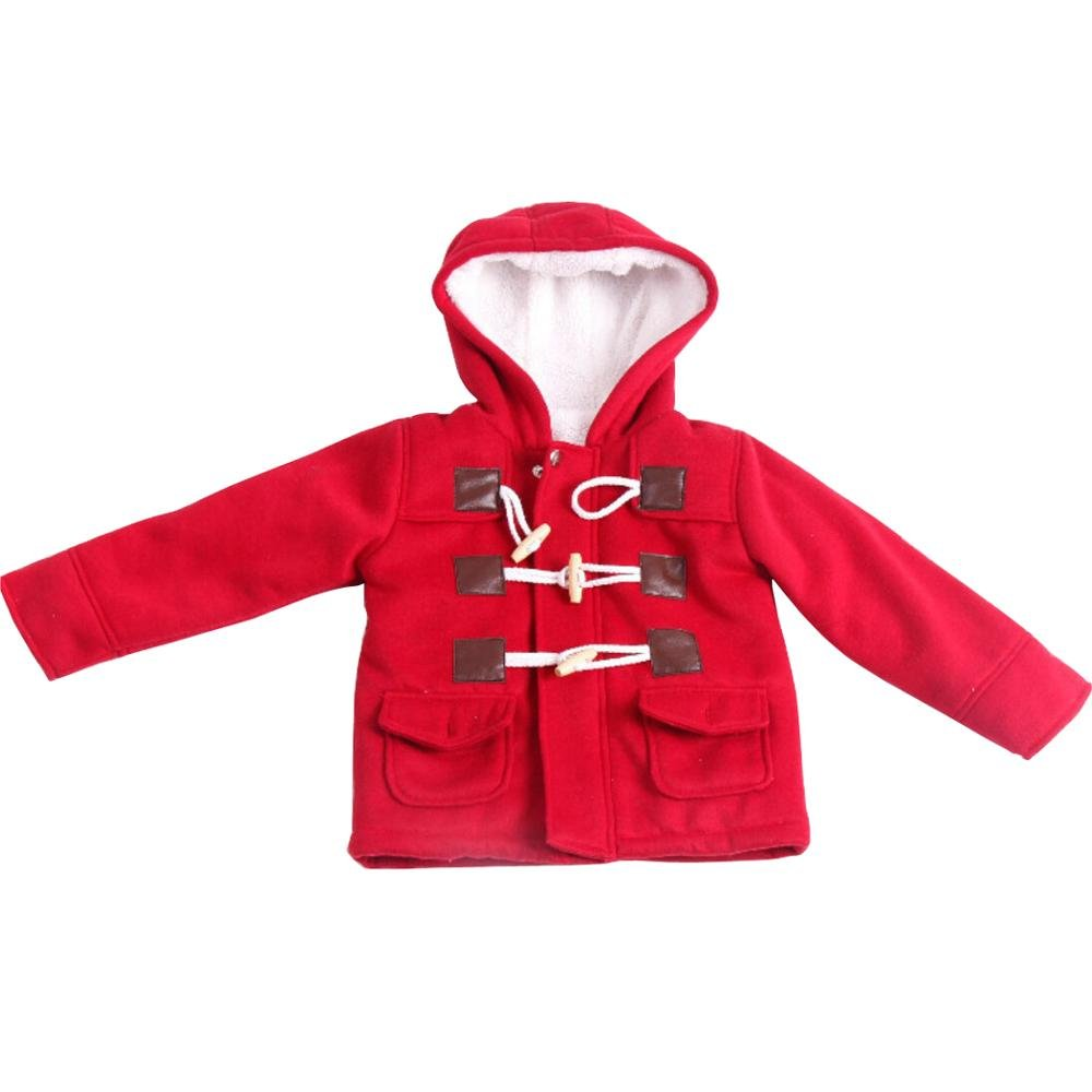 Wennikids Unisex Baby Fleece Hooded Jacket Warm Winter Horn Button Outerwear Coat LC-OURS-8077