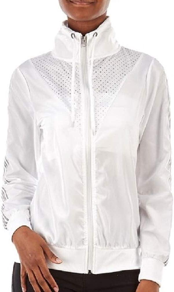 Daisy Fuentes Womens Zip Front Mesh Active Windbreaker Jacket
