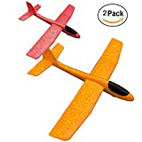 YAKEF Fly Toys Foam Airplane Glider Out Door Sports Toy for Kids Pack of 2 (yellow,red)