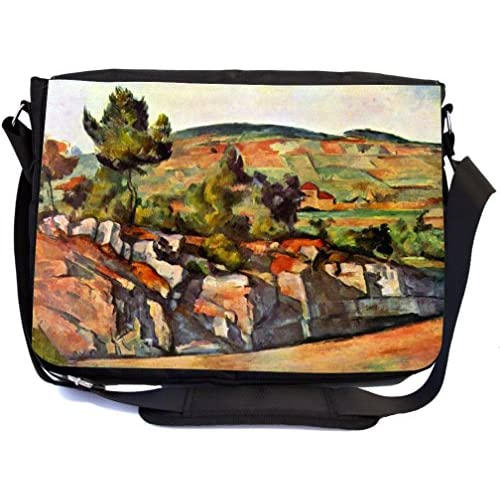 Rikki Knight Paul Cezzane Art Mountains in Provence Design Multifunctional Messenger Bag - School Bag - Laptop Bag - with padded insert for School or Work - Includes Matching Compact Mirror