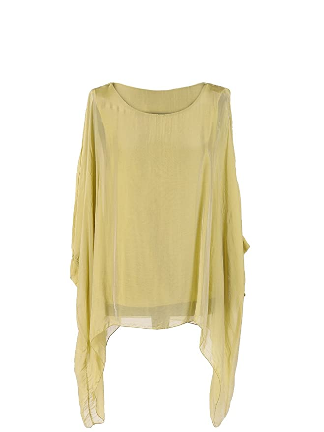 b288374a2576ef LushStyleUK New Ladies Italian Plain Batwing Silk Tunic Top Women Lagenlook  Top Plus Sizes (Beige)  Amazon.co.uk  Clothing