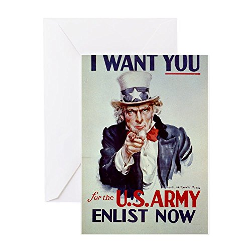 CafePress - I Want You For The US Army - Anonymous - 1941 - Po - Greeting Card, Note Card, Birthday Card, Blank Inside Glossy