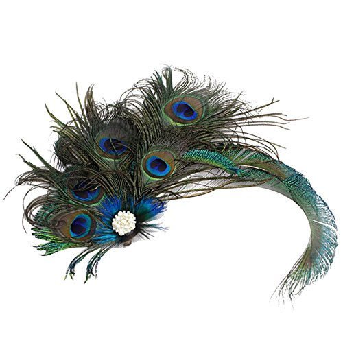 ACTLATI Elegant Peacock Feather Hair Clip Fascinator Hairpin Rhinestones Headband Cocktail Party Girls Women, Green, One Size ()