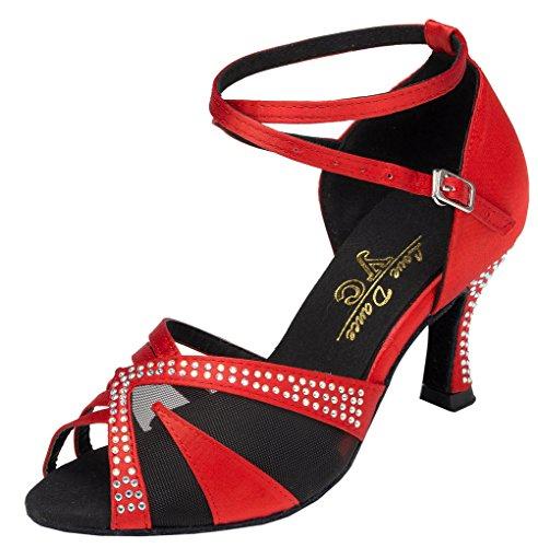 Zapatos CFP YFYC-L165 de baile profesionales, moda Latina, para tango y chachachá, tacones de satén para mujer Red
